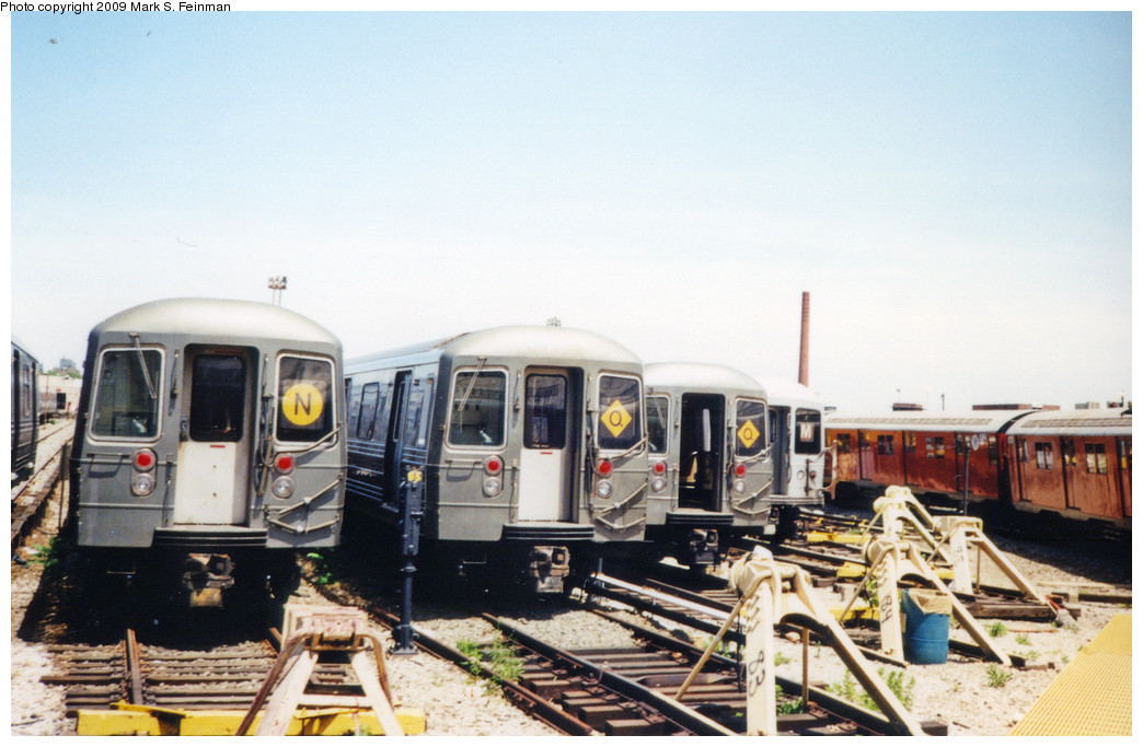 (215k, 1044x683)<br><b>Country:</b> United States<br><b>City:</b> New York<br><b>System:</b> New York City Transit<br><b>Location:</b> Coney Island Yard<br><b>Car:</b> R-68/R-68A Series (Number Unknown)  <br><b>Photo by:</b> Mark S. Feinman<br><b>Date:</b> 5/30/1993<br><b>Viewed (this week/total):</b> 1 / 1054