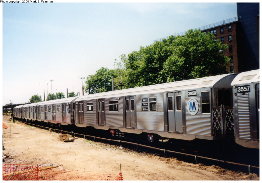 (245k, 1044x731)<br><b>Country:</b> United States<br><b>City:</b> New York<br><b>System:</b> New York City Transit<br><b>Location:</b> Coney Island Yard<br><b>Route:</b> N<br><b>Car:</b> R-32 (Budd, 1964)  3859 <br><b>Photo by:</b> Mark S. Feinman<br><b>Date:</b> 5/30/1993<br><b>Viewed (this week/total):</b> 2 / 751