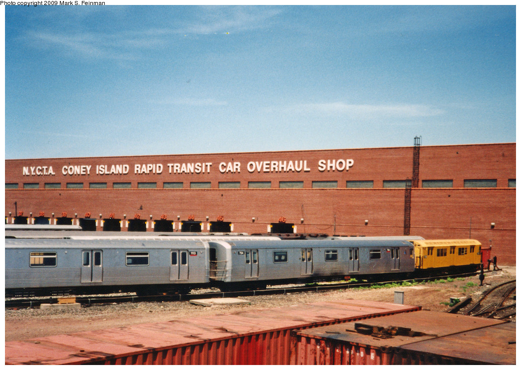(271k, 1044x742)<br><b>Country:</b> United States<br><b>City:</b> New York<br><b>System:</b> New York City Transit<br><b>Location:</b> Coney Island Yard<br><b>Car:</b> R-46 (Pullman-Standard, 1974-75) 754 <br><b>Photo by:</b> Mark S. Feinman<br><b>Date:</b> 5/30/1993<br><b>Notes:</b> With R22 7358<br><b>Viewed (this week/total):</b> 1 / 621