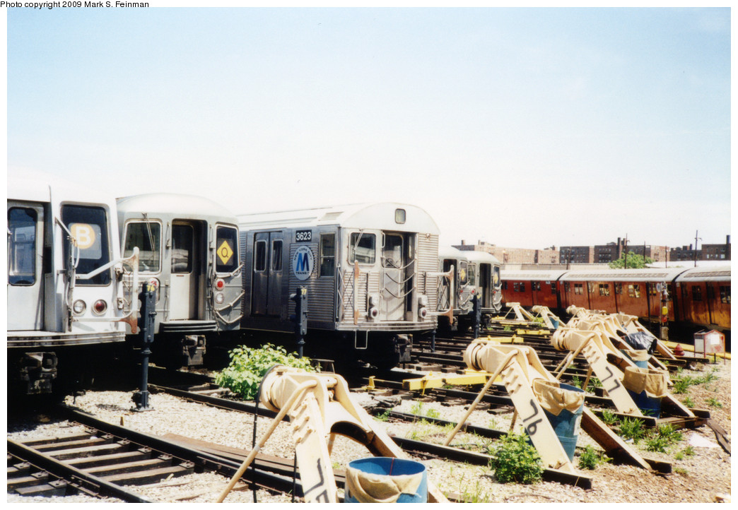 (235k, 1044x722)<br><b>Country:</b> United States<br><b>City:</b> New York<br><b>System:</b> New York City Transit<br><b>Location:</b> Coney Island Yard<br><b>Car:</b> R-32 (Budd, 1964)  3623 <br><b>Photo by:</b> Mark S. Feinman<br><b>Date:</b> 5/30/1993<br><b>Viewed (this week/total):</b> 5 / 731
