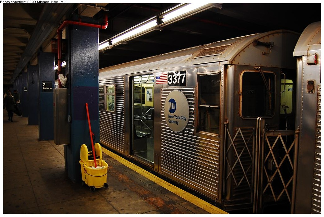 (231k, 1044x699)<br><b>Country:</b> United States<br><b>City:</b> New York<br><b>System:</b> New York City Transit<br><b>Line:</b> IND 6th Avenue Line<br><b>Location:</b> 2nd Avenue <br><b>Route:</b> V<br><b>Car:</b> R-32 (Budd, 1964)  3377 <br><b>Photo by:</b> Michael Hodurski<br><b>Date:</b> 12/10/2009<br><b>Viewed (this week/total):</b> 2 / 431