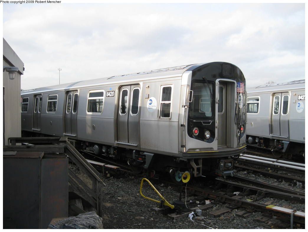 (177k, 1044x788)<br><b>Country:</b> United States<br><b>City:</b> New York<br><b>System:</b> New York City Transit<br><b>Location:</b> East New York Yard/Shops<br><b>Car:</b> R-160A-1 (Alstom, 2005-2008, 4 car sets)  8420 <br><b>Photo by:</b> Robert Mencher<br><b>Date:</b> 12/14/2009<br><b>Viewed (this week/total):</b> 2 / 540