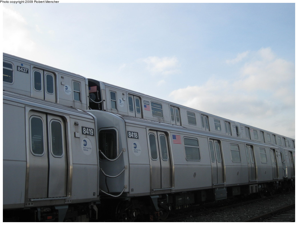 (138k, 1044x788)<br><b>Country:</b> United States<br><b>City:</b> New York<br><b>System:</b> New York City Transit<br><b>Location:</b> East New York Yard/Shops<br><b>Car:</b> R-160A-1 (Alstom, 2005-2008, 4 car sets)  8393 <br><b>Photo by:</b> Robert Mencher<br><b>Date:</b> 12/14/2009<br><b>Viewed (this week/total):</b> 2 / 453