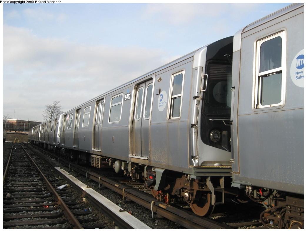 (190k, 1044x788)<br><b>Country:</b> United States<br><b>City:</b> New York<br><b>System:</b> New York City Transit<br><b>Location:</b> East New York Yard/Shops<br><b>Car:</b> R-160A-1 (Alstom, 2005-2008, 4 car sets)  8461 <br><b>Photo by:</b> Robert Mencher<br><b>Date:</b> 12/14/2009<br><b>Viewed (this week/total):</b> 1 / 688