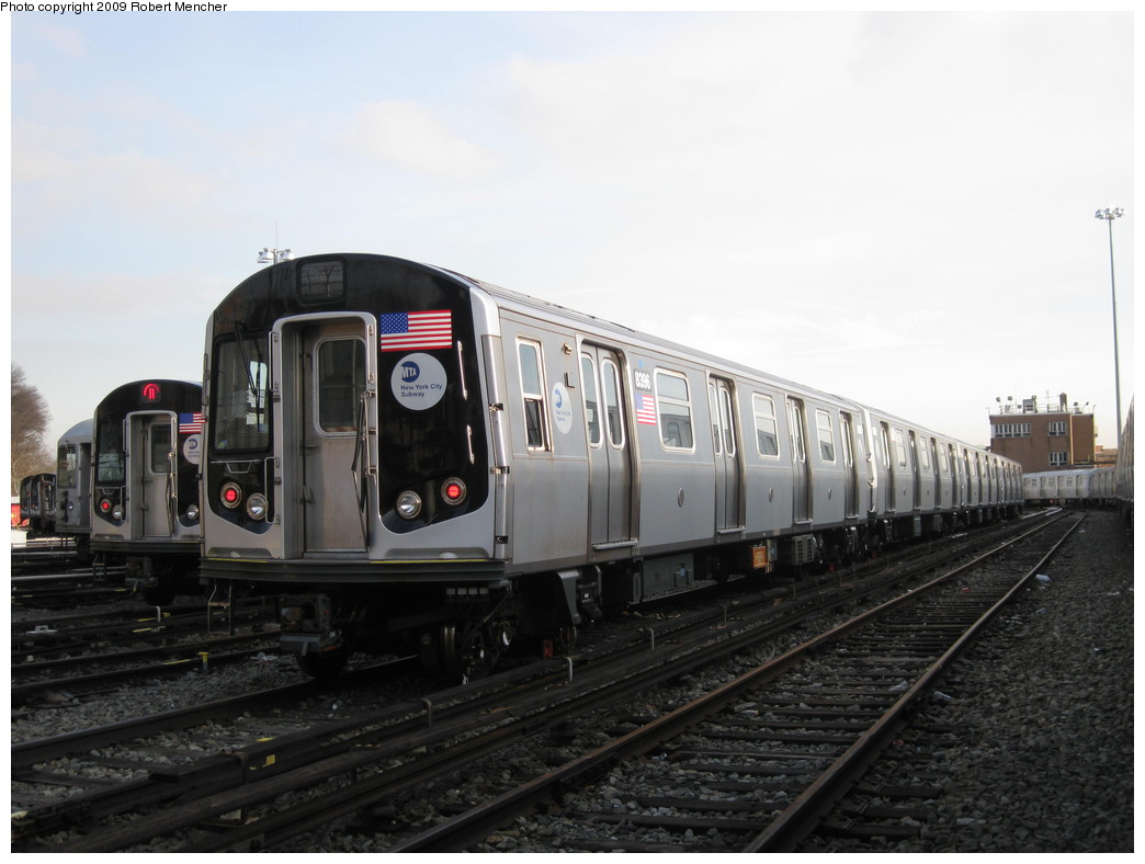 (168k, 1044x788)<br><b>Country:</b> United States<br><b>City:</b> New York<br><b>System:</b> New York City Transit<br><b>Location:</b> East New York Yard/Shops<br><b>Car:</b> R-160A-1 (Alstom, 2005-2008, 4 car sets)  8396 <br><b>Photo by:</b> Robert Mencher<br><b>Date:</b> 12/14/2009<br><b>Viewed (this week/total):</b> 3 / 549