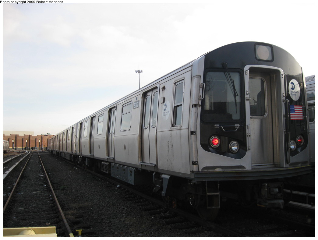 (144k, 1044x788)<br><b>Country:</b> United States<br><b>City:</b> New York<br><b>System:</b> New York City Transit<br><b>Location:</b> East New York Yard/Shops<br><b>Car:</b> R-143 (Kawasaki, 2001-2002) 8112 <br><b>Photo by:</b> Robert Mencher<br><b>Date:</b> 12/14/2009<br><b>Viewed (this week/total):</b> 0 / 263