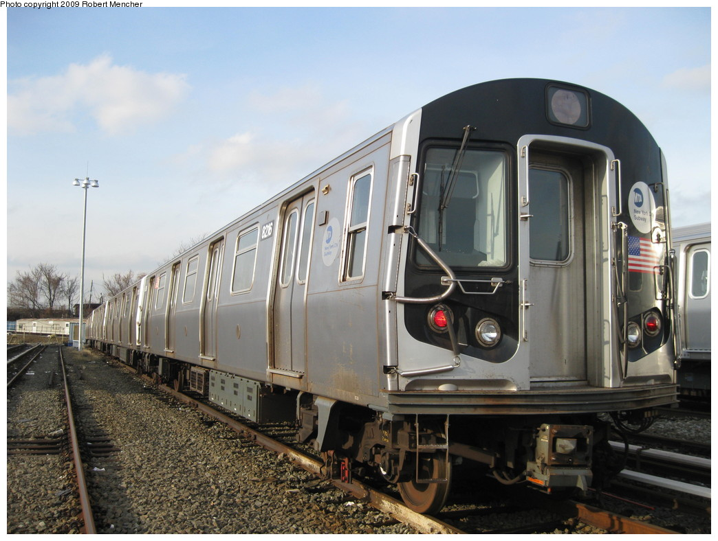 (217k, 1044x788)<br><b>Country:</b> United States<br><b>City:</b> New York<br><b>System:</b> New York City Transit<br><b>Location:</b> East New York Yard/Shops<br><b>Car:</b> R-143 (Kawasaki, 2001-2002) 8216 <br><b>Photo by:</b> Robert Mencher<br><b>Date:</b> 12/14/2009<br><b>Viewed (this week/total):</b> 0 / 294