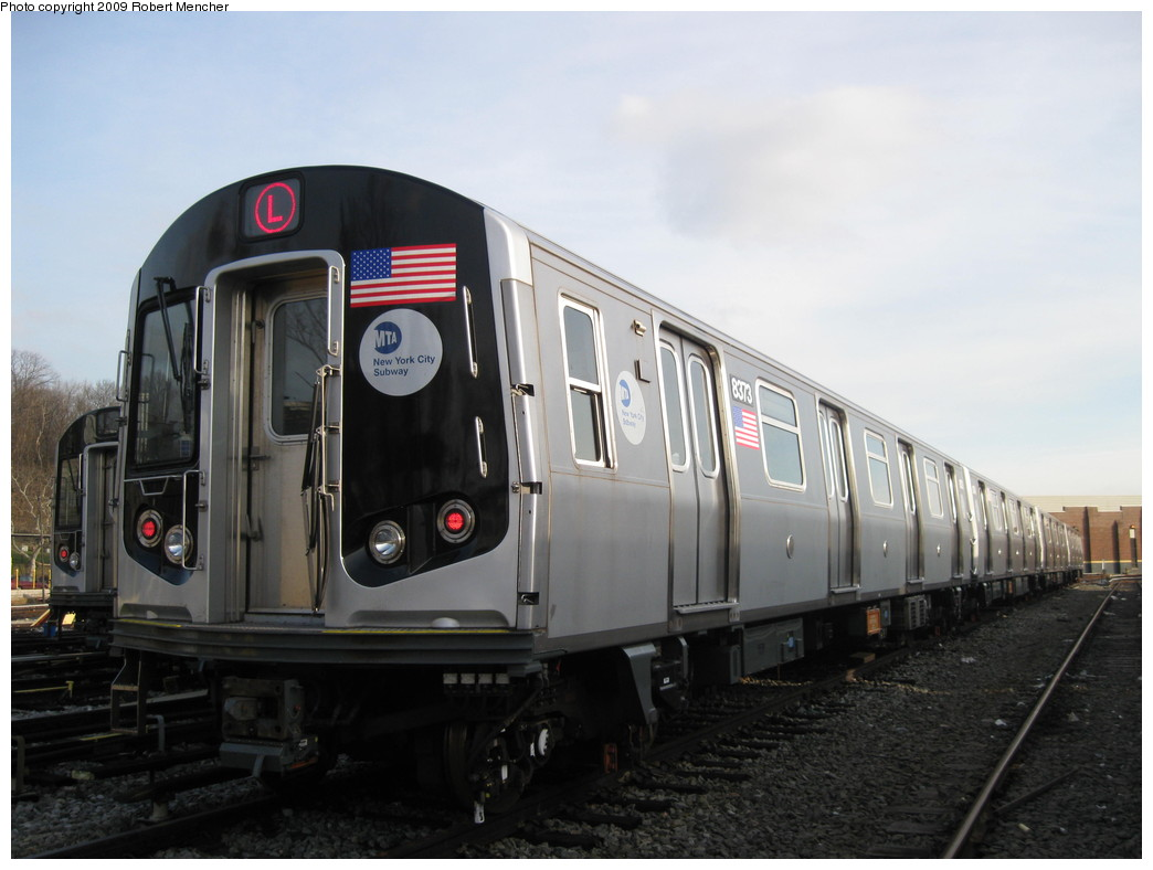 (165k, 1044x788)<br><b>Country:</b> United States<br><b>City:</b> New York<br><b>System:</b> New York City Transit<br><b>Location:</b> East New York Yard/Shops<br><b>Car:</b> R-160A-1 (Alstom, 2005-2008, 4 car sets)  8373 <br><b>Photo by:</b> Robert Mencher<br><b>Date:</b> 12/14/2009<br><b>Viewed (this week/total):</b> 2 / 558