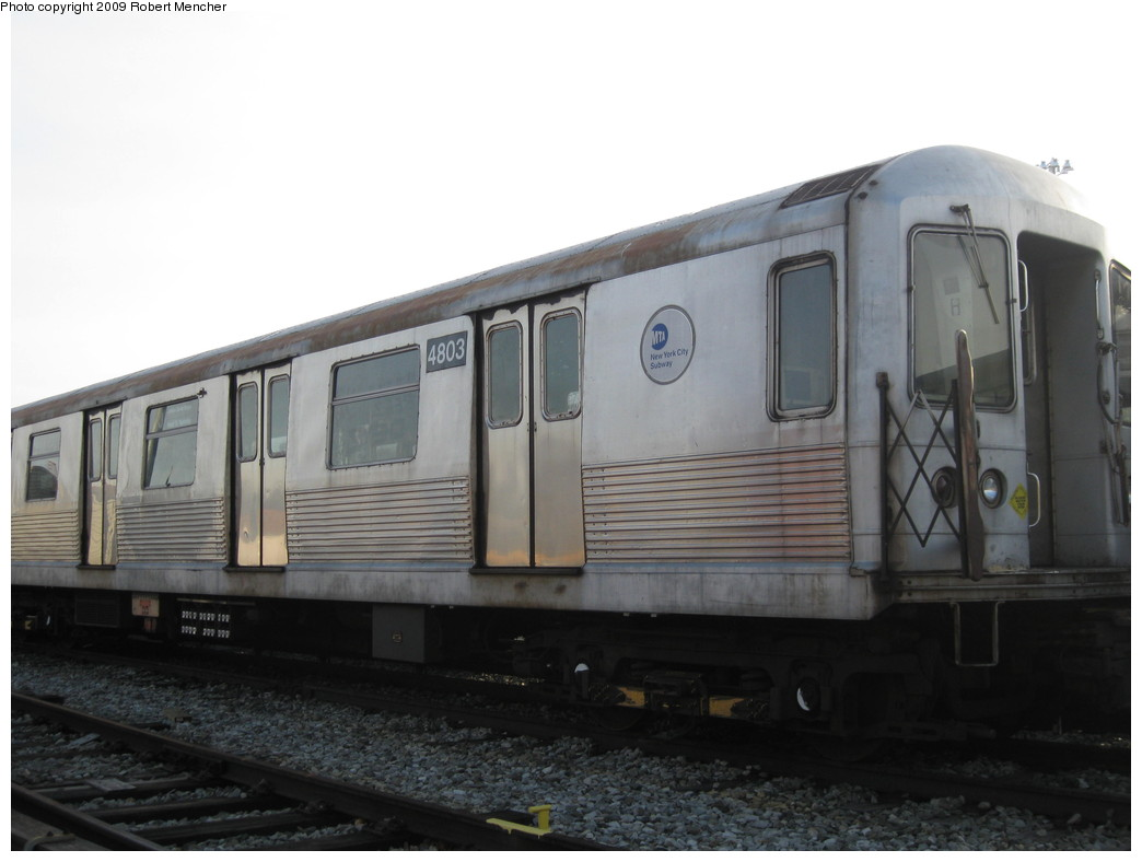 (146k, 1044x788)<br><b>Country:</b> United States<br><b>City:</b> New York<br><b>System:</b> New York City Transit<br><b>Location:</b> East New York Yard/Shops<br><b>Car:</b> R-42 (St. Louis, 1969-1970)  4803 <br><b>Photo by:</b> Robert Mencher<br><b>Date:</b> 12/14/2009<br><b>Viewed (this week/total):</b> 0 / 485
