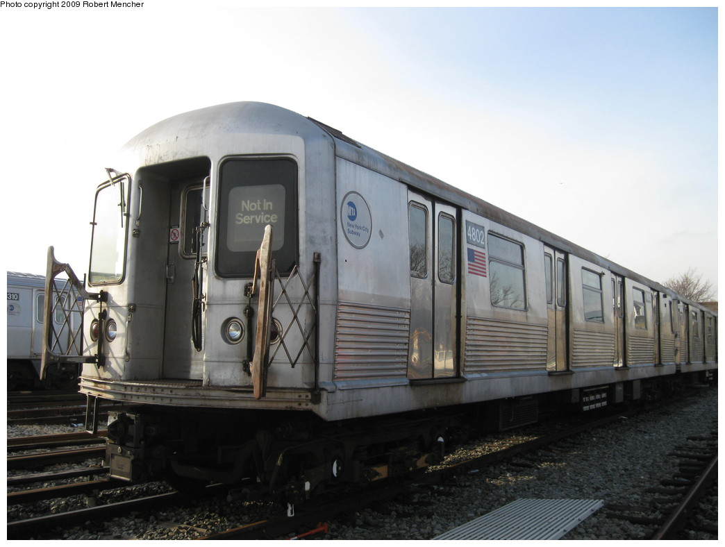 (167k, 1044x788)<br><b>Country:</b> United States<br><b>City:</b> New York<br><b>System:</b> New York City Transit<br><b>Location:</b> East New York Yard/Shops<br><b>Car:</b> R-42 (St. Louis, 1969-1970)  4802 <br><b>Photo by:</b> Robert Mencher<br><b>Date:</b> 12/14/2009<br><b>Viewed (this week/total):</b> 2 / 446