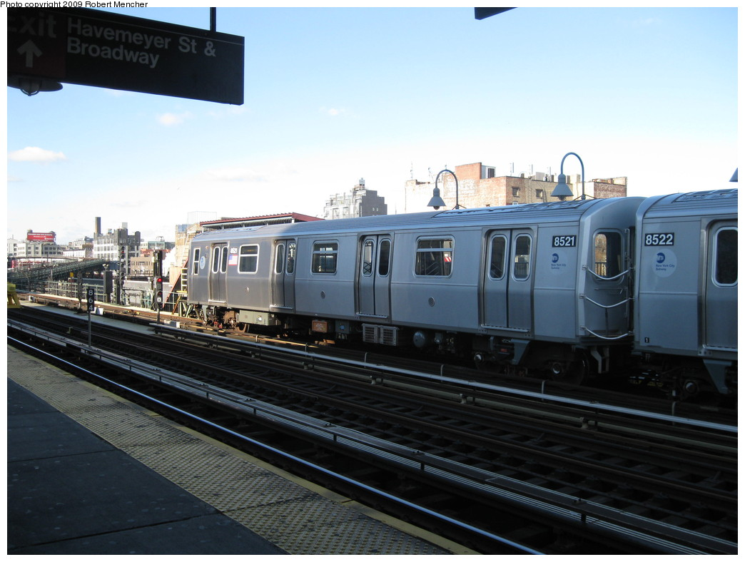 (193k, 1044x788)<br><b>Country:</b> United States<br><b>City:</b> New York<br><b>System:</b> New York City Transit<br><b>Line:</b> BMT Nassau Street/Jamaica Line<br><b>Location:</b> Marcy Avenue <br><b>Route:</b> J<br><b>Car:</b> R-160A-1 (Alstom, 2005-2008, 4 car sets)  8521 <br><b>Photo by:</b> Robert Mencher<br><b>Date:</b> 12/16/2009<br><b>Viewed (this week/total):</b> 0 / 380