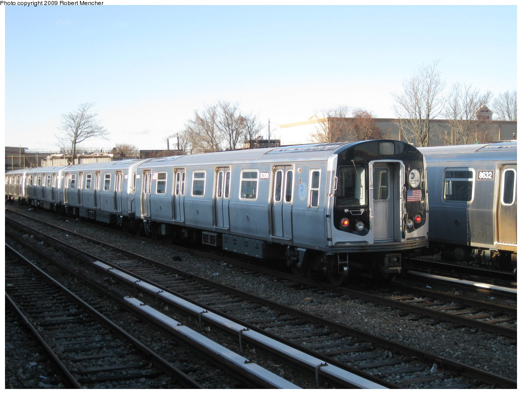 (207k, 1044x788)<br><b>Country:</b> United States<br><b>City:</b> New York<br><b>System:</b> New York City Transit<br><b>Location:</b> East New York Yard/Shops<br><b>Car:</b> R-143 (Kawasaki, 2001-2002) 8308 <br><b>Photo by:</b> Robert Mencher<br><b>Date:</b> 12/16/2009<br><b>Viewed (this week/total):</b> 0 / 711