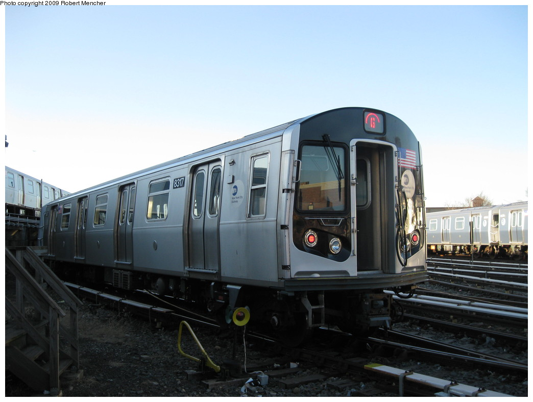 (167k, 1044x788)<br><b>Country:</b> United States<br><b>City:</b> New York<br><b>System:</b> New York City Transit<br><b>Location:</b> East New York Yard/Shops<br><b>Car:</b> R-160A-1 (Alstom, 2005-2008, 4 car sets)  8317 <br><b>Photo by:</b> Robert Mencher<br><b>Date:</b> 12/16/2009<br><b>Viewed (this week/total):</b> 0 / 699