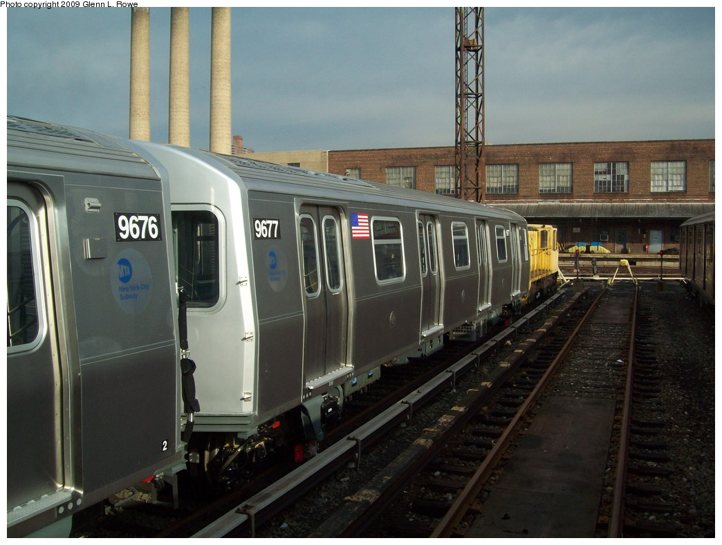 (201k, 1044x788)<br><b>Country:</b> United States<br><b>City:</b> New York<br><b>System:</b> New York City Transit<br><b>Location:</b> 207th Street Yard<br><b>Car:</b> R-160A (Option 2) (Alstom, 2009, 5-car sets)  9677 <br><b>Photo by:</b> Glenn L. Rowe<br><b>Date:</b> 12/7/2009<br><b>Viewed (this week/total):</b> 0 / 693