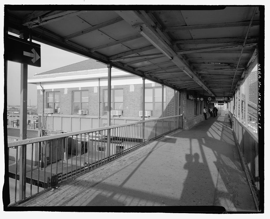 (139k, 1024x828)<br><b>Country:</b> United States<br><b>City:</b> New York<br><b>System:</b> New York City Transit<br><b>Location:</b> Coney Island/Stillwell Avenue<br><b>Photo by:</b> Rob Tucher, Historic American Engineering Record<br><b>Collection of:</b> Library of Congress, Prints and Photographs Division<br><b>Notes:</b> Oblique view of south front and west elevation of RTO building from platform above tracks. Looking northeast.<br><b>Viewed (this week/total):</b> 2 / 531
