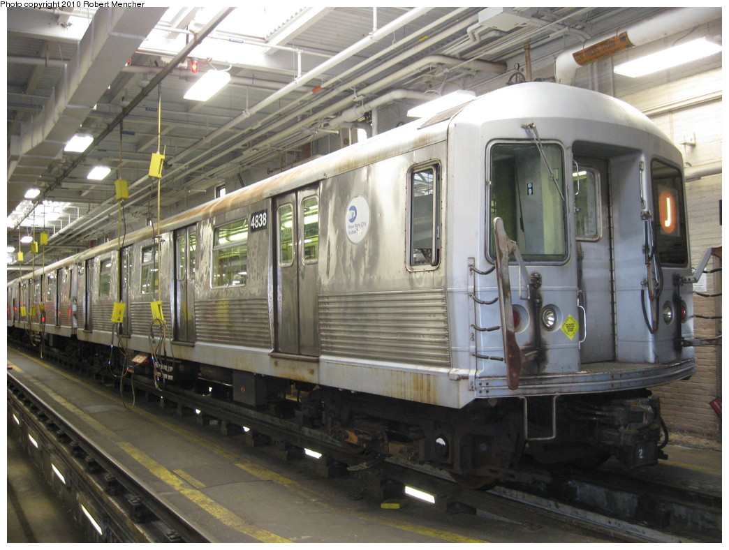 (238k, 1044x788)<br><b>Country:</b> United States<br><b>City:</b> New York<br><b>System:</b> New York City Transit<br><b>Location:</b> East New York Yard/Shops<br><b>Car:</b> R-42 (St. Louis, 1969-1970)  4838 <br><b>Photo by:</b> Robert Mencher<br><b>Date:</b> 1/4/2010<br><b>Viewed (this week/total):</b> 0 / 439