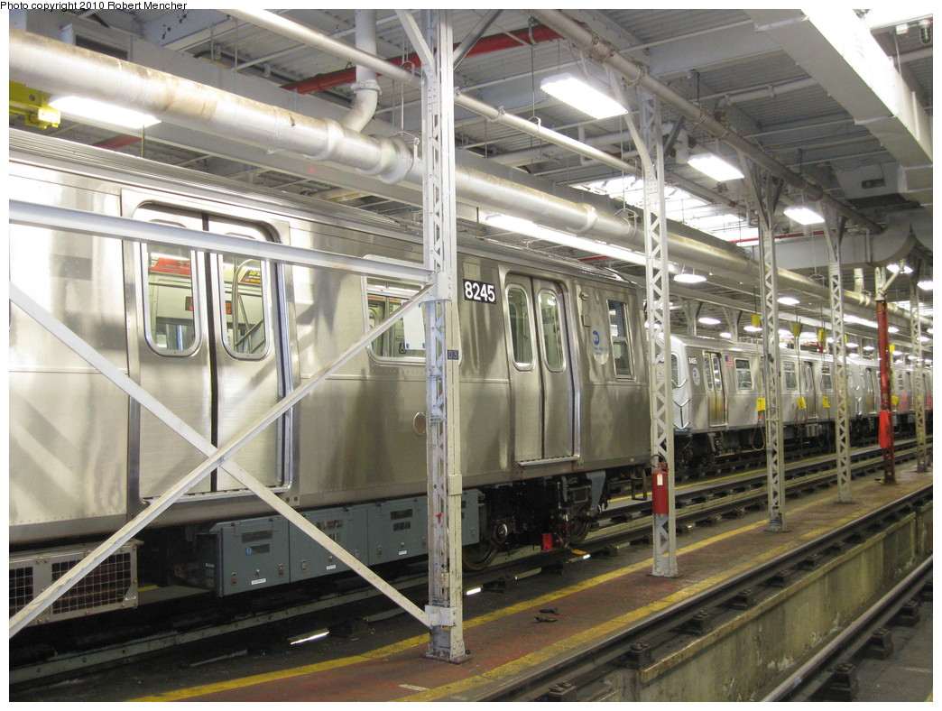 (256k, 1044x788)<br><b>Country:</b> United States<br><b>City:</b> New York<br><b>System:</b> New York City Transit<br><b>Location:</b> East New York Yard/Shops<br><b>Car:</b> R-143 (Kawasaki, 2001-2002) 8245 <br><b>Photo by:</b> Robert Mencher<br><b>Date:</b> 1/4/2010<br><b>Viewed (this week/total):</b> 4 / 597