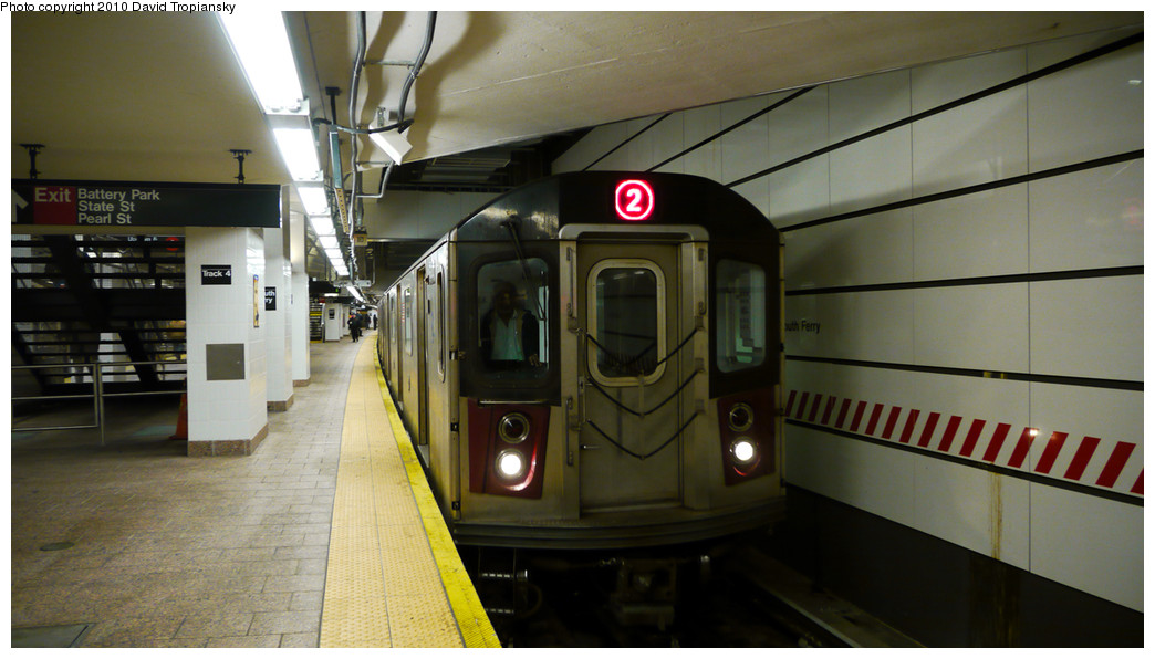 (200k, 1044x596)<br><b>Country:</b> United States<br><b>City:</b> New York<br><b>System:</b> New York City Transit<br><b>Line:</b> IRT West Side Line<br><b>Location:</b> South Ferry (New Station) <br><b>Route:</b> 2<br><b>Car:</b> R-142 or R-142A (Number Unknown)  <br><b>Photo by:</b> David Tropiansky<br><b>Date:</b> 1/2/2010<br><b>Viewed (this week/total):</b> 0 / 1708