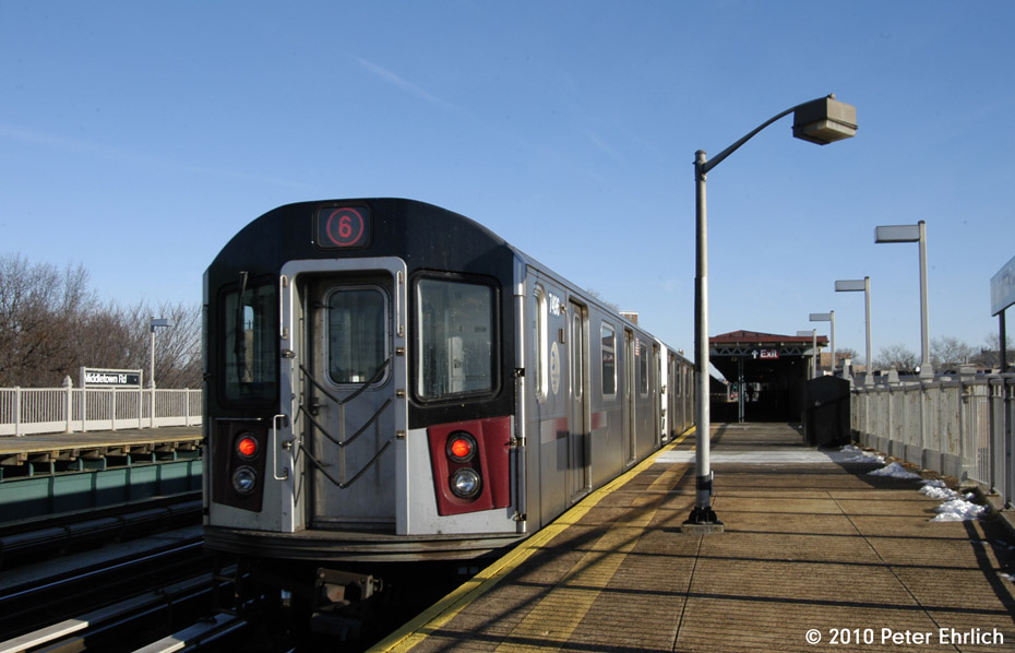 (141k, 930x598)<br><b>Country:</b> United States<br><b>City:</b> New York<br><b>System:</b> New York City Transit<br><b>Line:</b> IRT Pelham Line<br><b>Location:</b> Middletown Road <br><b>Route:</b> 6<br><b>Car:</b> R-142A (Primary Order, Kawasaki, 1999-2002)  7496 <br><b>Photo by:</b> Peter Ehrlich<br><b>Date:</b> 1/6/2010<br><b>Notes:</b> Outbound<br><b>Viewed (this week/total):</b> 5 / 347