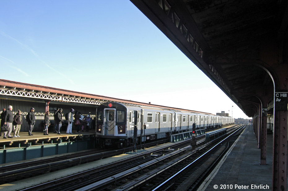 (160k, 930x618)<br><b>Country:</b> United States<br><b>City:</b> New York<br><b>System:</b> New York City Transit<br><b>Line:</b> IRT Pelham Line<br><b>Location:</b> Castle Hill Avenue <br><b>Route:</b> 6<br><b>Car:</b> R-142A (Option Order, Kawasaki, 2002-2003)  7655 <br><b>Photo by:</b> Peter Ehrlich<br><b>Date:</b> 1/6/2010<br><b>Notes:</b> Inbound<br><b>Viewed (this week/total):</b> 2 / 471