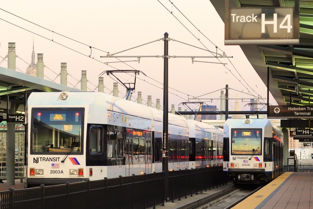 (233k, 1024x683)<br><b>Country:</b> United States<br><b>City:</b> Hoboken, NJ<br><b>System:</b> Hudson Bergen Light Rail<br><b>Location:</b> Hoboken <br><b>Car:</b> NJT-HBLR LRV (Kinki-Sharyo, 1998-99)  2003/2052 <br><b>Photo by:</b> Richard Panse<br><b>Date:</b> 12/17/2009<br><b>Viewed (this week/total):</b> 0 / 188