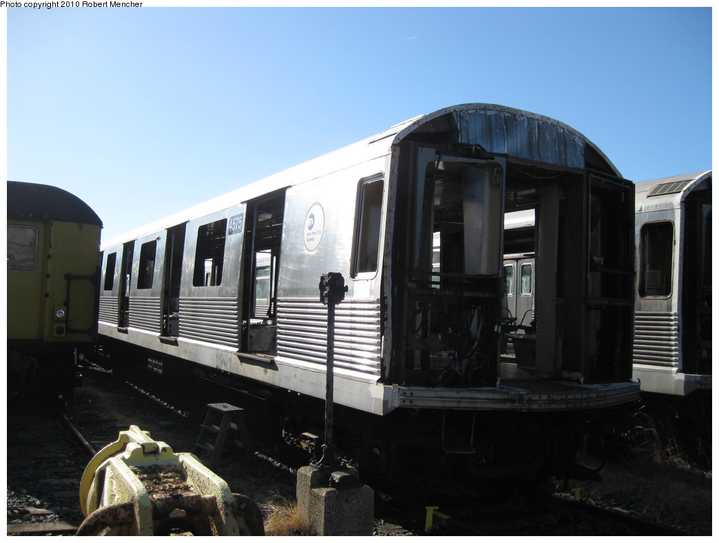 (166k, 1044x788)<br><b>Country:</b> United States<br><b>City:</b> New York<br><b>System:</b> New York City Transit<br><b>Location:</b> 207th Street Yard<br><b>Car:</b> R-42 (St. Louis, 1969-1970)  4575 <br><b>Photo by:</b> Robert Mencher<br><b>Date:</b> 1/18/2010<br><b>Notes:</b> Scrap<br><b>Viewed (this week/total):</b> 0 / 222