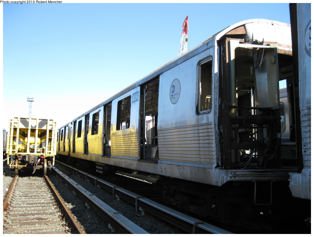 (203k, 1044x788)<br><b>Country:</b> United States<br><b>City:</b> New York<br><b>System:</b> New York City Transit<br><b>Location:</b> 207th Street Yard<br><b>Car:</b> R-42 (St. Louis, 1969-1970)  4656 <br><b>Photo by:</b> Robert Mencher<br><b>Date:</b> 1/18/2010<br><b>Notes:</b> Scrap<br><b>Viewed (this week/total):</b> 1 / 235
