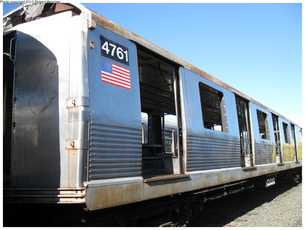 (194k, 1044x788)<br><b>Country:</b> United States<br><b>City:</b> New York<br><b>System:</b> New York City Transit<br><b>Location:</b> 207th Street Yard<br><b>Car:</b> R-42 (St. Louis, 1969-1970)  4761 <br><b>Photo by:</b> Robert Mencher<br><b>Date:</b> 1/18/2010<br><b>Notes:</b> Scrap<br><b>Viewed (this week/total):</b> 0 / 505