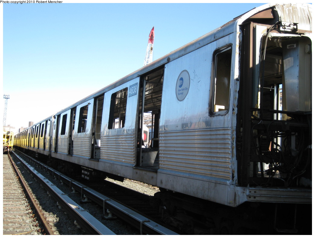 (200k, 1044x788)<br><b>Country:</b> United States<br><b>City:</b> New York<br><b>System:</b> New York City Transit<br><b>Location:</b> 207th Street Yard<br><b>Car:</b> R-42 (St. Louis, 1969-1970)  4638 <br><b>Photo by:</b> Robert Mencher<br><b>Date:</b> 1/18/2010<br><b>Notes:</b> Scrap<br><b>Viewed (this week/total):</b> 0 / 358