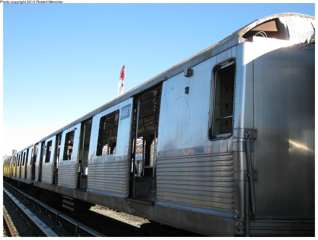 (174k, 1044x788)<br><b>Country:</b> United States<br><b>City:</b> New York<br><b>System:</b> New York City Transit<br><b>Location:</b> 207th Street Yard<br><b>Car:</b> R-42 (St. Louis, 1969-1970)  4661 <br><b>Photo by:</b> Robert Mencher<br><b>Date:</b> 1/18/2010<br><b>Notes:</b> Scrap<br><b>Viewed (this week/total):</b> 2 / 213