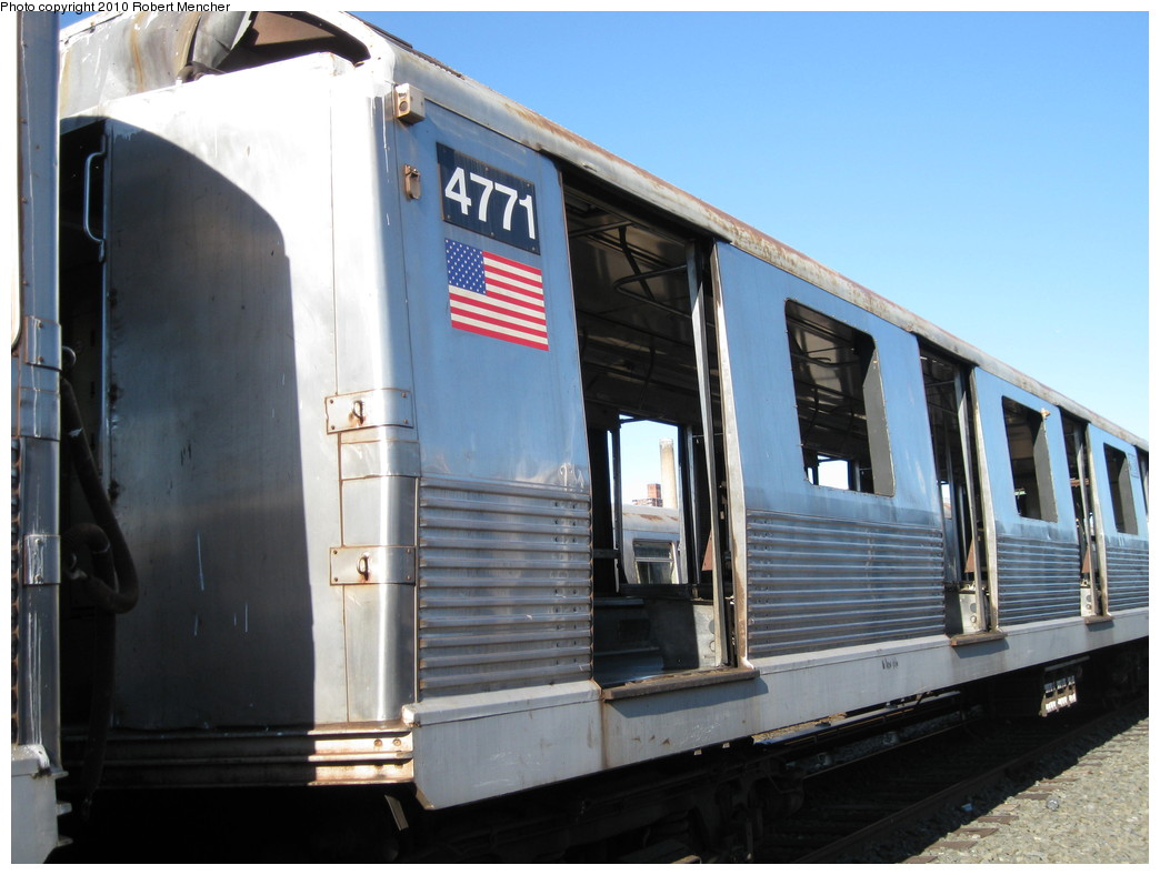 (188k, 1044x788)<br><b>Country:</b> United States<br><b>City:</b> New York<br><b>System:</b> New York City Transit<br><b>Location:</b> 207th Street Yard<br><b>Car:</b> R-42 (St. Louis, 1969-1970)  4771 <br><b>Photo by:</b> Robert Mencher<br><b>Date:</b> 1/18/2010<br><b>Notes:</b> Scrap<br><b>Viewed (this week/total):</b> 0 / 444