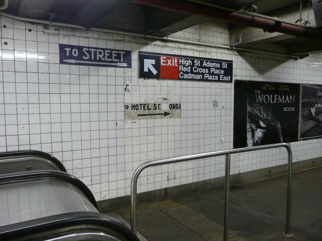 (116k, 1024x768)<br><b>Country:</b> United States<br><b>City:</b> New York<br><b>System:</b> New York City Transit<br><b>Line:</b> IND 8th Avenue Line<br><b>Location:</b> High Street/Brooklyn Bridge <br><b>Photo by:</b> Robbie Rosenfeld<br><b>Date:</b> 1/26/2010<br><b>Notes:</b> Old sign for Hotel St. George.<br><b>Viewed (this week/total):</b> 10 / 1576