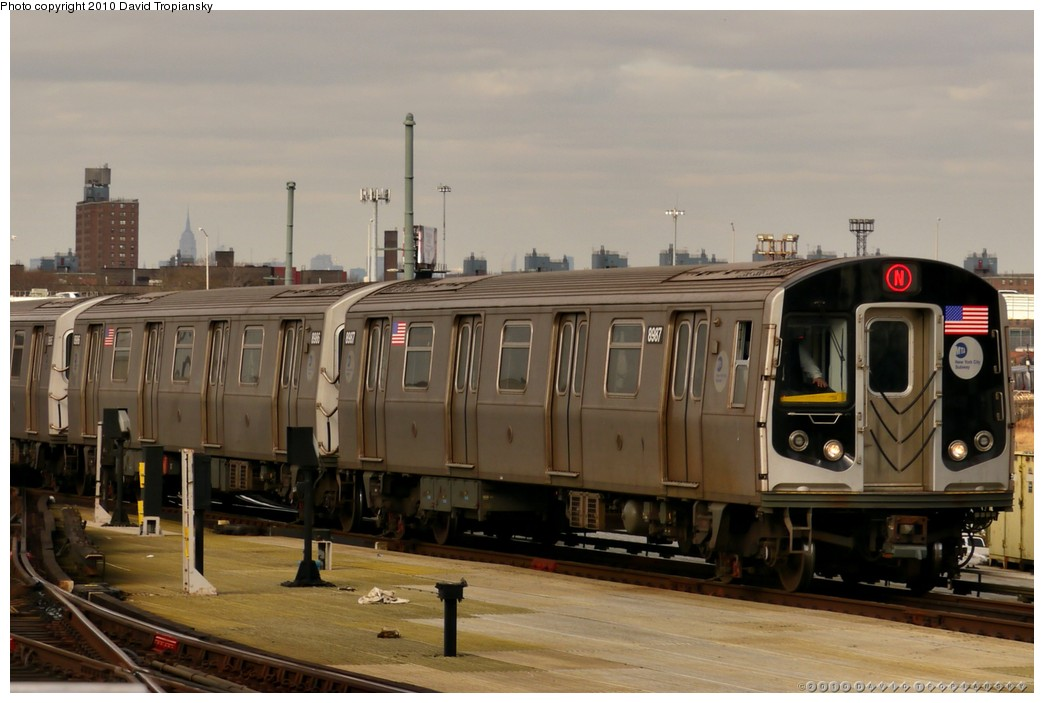 (161k, 1044x703)<br><b>Country:</b> United States<br><b>City:</b> New York<br><b>System:</b> New York City Transit<br><b>Location:</b> Coney Island/Stillwell Avenue<br><b>Route:</b> N<br><b>Car:</b> R-160B (Kawasaki, 2005-2008)  8967 <br><b>Photo by:</b> David Tropiansky<br><b>Date:</b> 1/27/2010<br><b>Viewed (this week/total):</b> 3 / 661