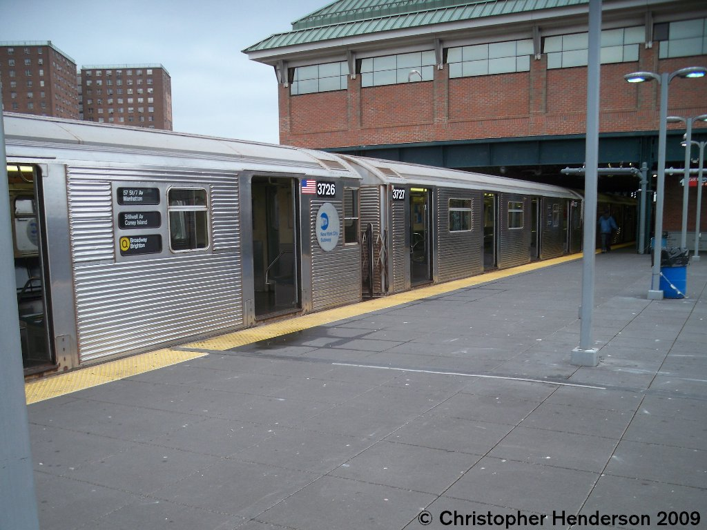 (156k, 1024x768)<br><b>Country:</b> United States<br><b>City:</b> New York<br><b>System:</b> New York City Transit<br><b>Location:</b> Coney Island/Stillwell Avenue<br><b>Route:</b> Q<br><b>Car:</b> R-32 (Budd, 1964)  3726/3727 <br><b>Photo by:</b> Christopher Henderson<br><b>Date:</b> 11/27/2009<br><b>Viewed (this week/total):</b> 2 / 914