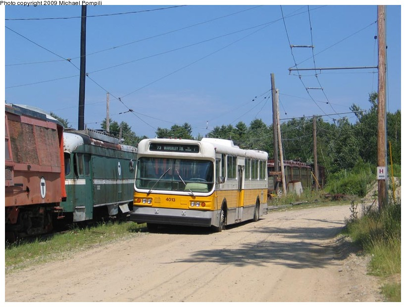 (139k, 820x620)<br><b>Country:</b> United States<br><b>City:</b> Kennebunk, ME<br><b>System:</b> Seashore Trolley Museum <br><b>Car:</b> MBTA Trolleybus 4013 <br><b>Photo by:</b> Michael Pompili<br><b>Date:</b> 7/13/2008<br><b>Viewed (this week/total):</b> 0 / 213