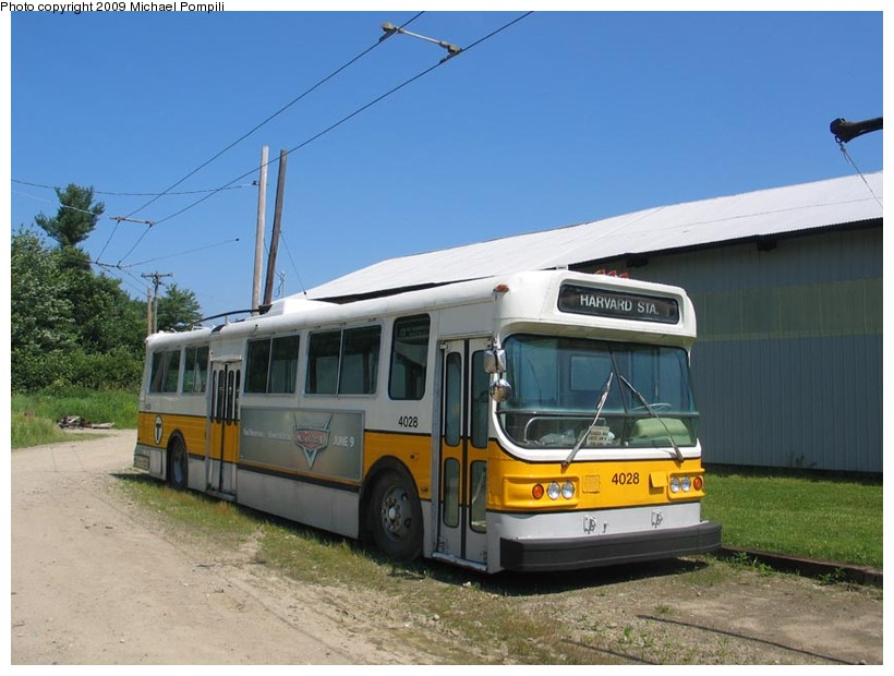 (130k, 820x620)<br><b>Country:</b> United States<br><b>City:</b> Kennebunk, ME<br><b>System:</b> Seashore Trolley Museum <br><b>Car:</b> MBTA Trolleybus 4028 <br><b>Photo by:</b> Michael Pompili<br><b>Date:</b> 7/13/2008<br><b>Viewed (this week/total):</b> 0 / 308