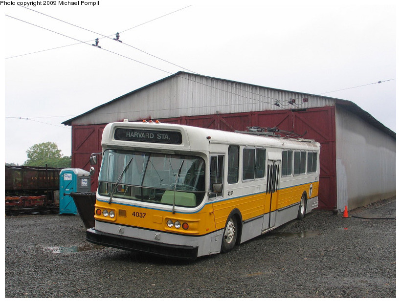 (177k, 820x620)<br><b>Country:</b> United States<br><b>City:</b> East Haven/Branford, Ct.<br><b>System:</b> Shore Line Trolley Museum <br><b>Car:</b> MBTA Trolleybus 4037 <br><b>Photo by:</b> Michael Pompili<br><b>Date:</b> 8/2/2009<br><b>Viewed (this week/total):</b> 1 / 486