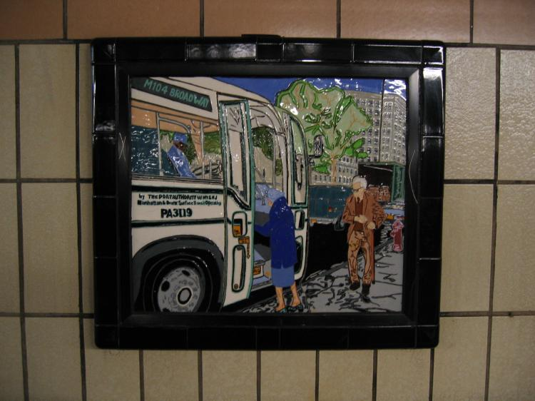 (65k, 750x562)<br><b>Country:</b> United States<br><b>City:</b> New York<br><b>System:</b> New York City Transit<br><b>Line:</b> IRT West Side Line<br><b>Location:</b> 86th Street <br><b>Photo by:</b> Robbie Rosenfeld<br><b>Date:</b> 1/19/2005<br><b>Artwork:</b> <i>Westside Views</i>, Nitza Tufino (1989).<br><b>Viewed (this week/total):</b> 0 / 2174