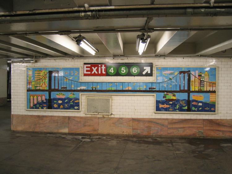 (69k, 750x562)<br><b>Country:</b> United States<br><b>City:</b> New York<br><b>System:</b> New York City Transit<br><b>Line:</b> IRT East Side Line<br><b>Location:</b> Brooklyn Bridge/City Hall <br><b>Photo by:</b> Robbie Rosenfeld<br><b>Date:</b> 3/1/2005<br><b>Artwork:</b> <i>Buildings, Boats, and a Bridge</i>,  Students of PS 126 and PS 20.<br><b>Viewed (this week/total):</b> 7 / 3380