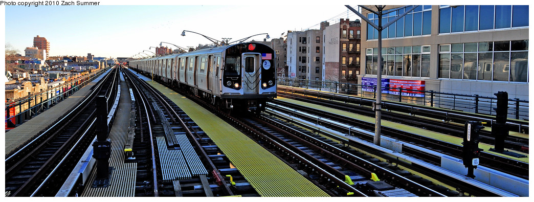 (235k, 1044x395)<br><b>Country:</b> United States<br><b>City:</b> New York<br><b>System:</b> New York City Transit<br><b>Line:</b> BMT Brighton Line<br><b>Location:</b> Ocean Parkway <br><b>Route:</b> Q<br><b>Car:</b> R-160B (Option 1) (Kawasaki, 2008-2009)  9107 <br><b>Photo by:</b> Zach Summer<br><b>Date:</b> 1/10/2010<br><b>Viewed (this week/total):</b> 1 / 971