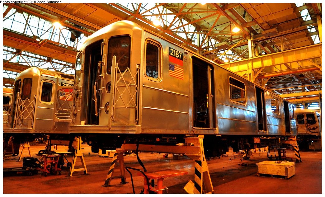 (377k, 1044x633)<br><b>Country:</b> United States<br><b>City:</b> New York<br><b>System:</b> New York City Transit<br><b>Location:</b> Coney Island Shop/Overhaul & Repair Shop<br><b>Car:</b> R-62A (Bombardier, 1984-1987)  2187 <br><b>Photo by:</b> Zach Summer<br><b>Date:</b> 1/10/2010<br><b>Viewed (this week/total):</b> 1 / 349