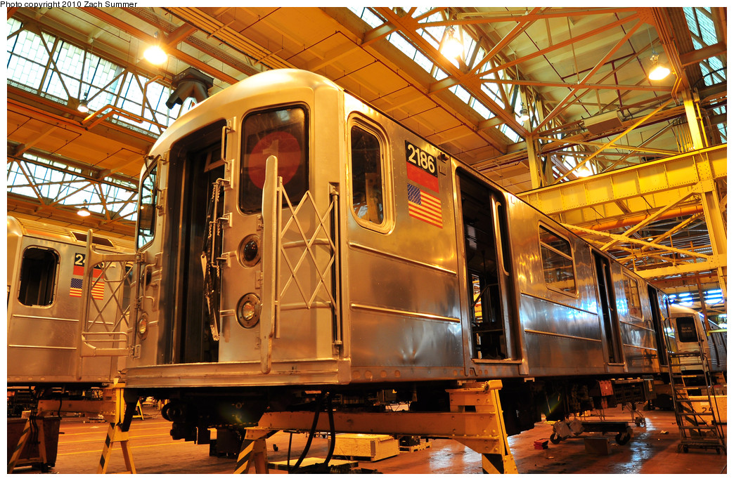 (388k, 1044x685)<br><b>Country:</b> United States<br><b>City:</b> New York<br><b>System:</b> New York City Transit<br><b>Location:</b> Coney Island Shop/Overhaul & Repair Shop<br><b>Car:</b> R-62A (Bombardier, 1984-1987)  2186 <br><b>Photo by:</b> Zach Summer<br><b>Date:</b> 1/10/2010<br><b>Viewed (this week/total):</b> 0 / 548