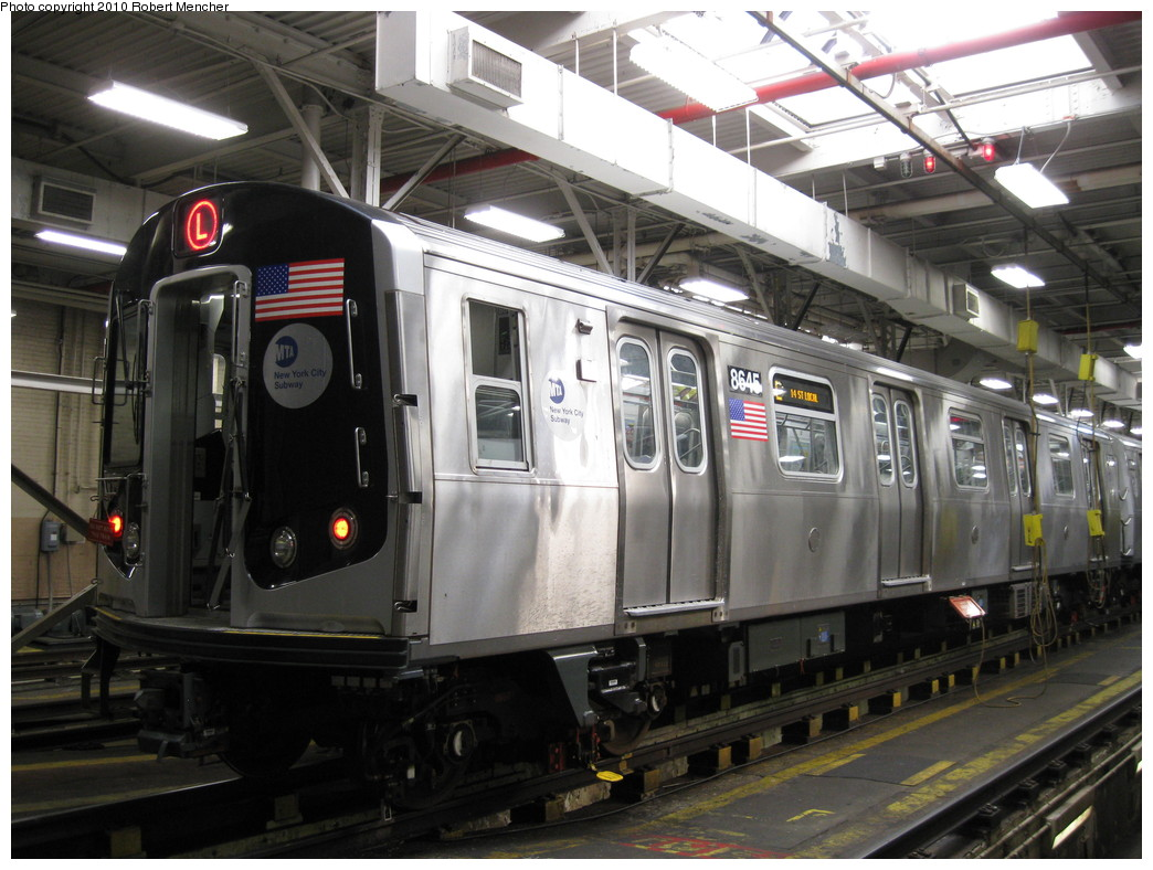 (222k, 1044x788)<br><b>Country:</b> United States<br><b>City:</b> New York<br><b>System:</b> New York City Transit<br><b>Location:</b> East New York Yard/Shops<br><b>Car:</b> R-160A-1 (Alstom, 2005-2008, 4 car sets)  8645 <br><b>Photo by:</b> Robert Mencher<br><b>Date:</b> 2/8/2010<br><b>Viewed (this week/total):</b> 1 / 598