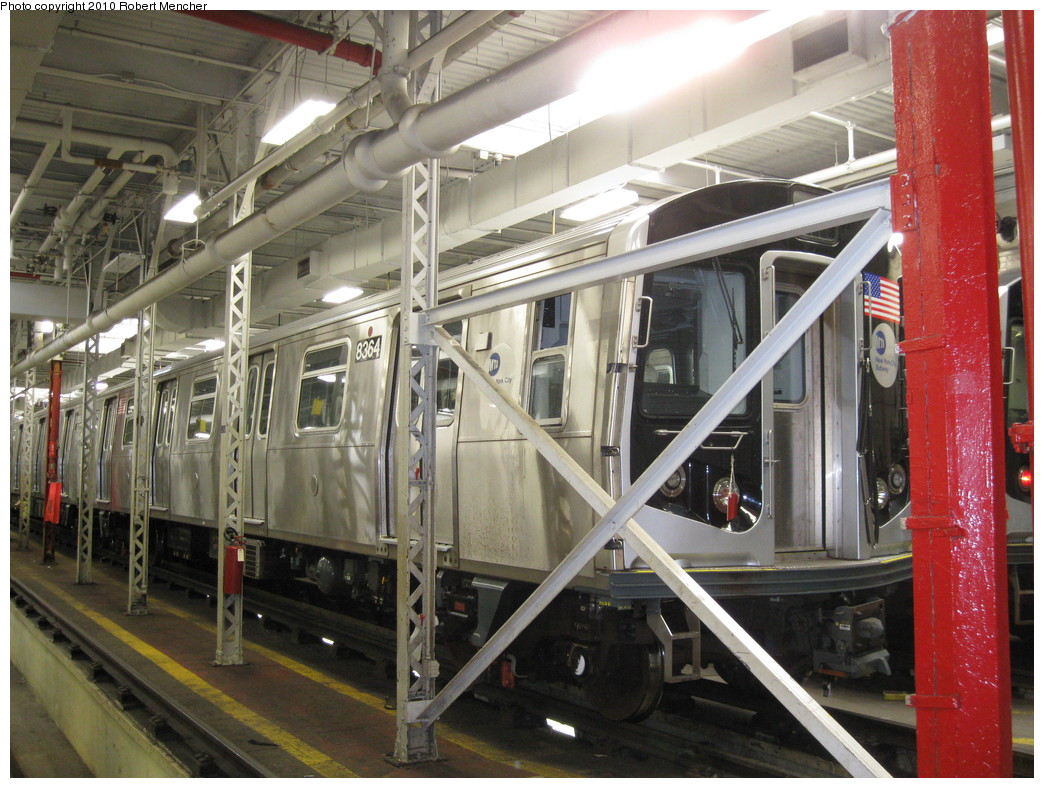 (259k, 1044x788)<br><b>Country:</b> United States<br><b>City:</b> New York<br><b>System:</b> New York City Transit<br><b>Location:</b> East New York Yard/Shops<br><b>Car:</b> R-160A-1 (Alstom, 2005-2008, 4 car sets)  8364 <br><b>Photo by:</b> Robert Mencher<br><b>Date:</b> 2/8/2010<br><b>Viewed (this week/total):</b> 2 / 769