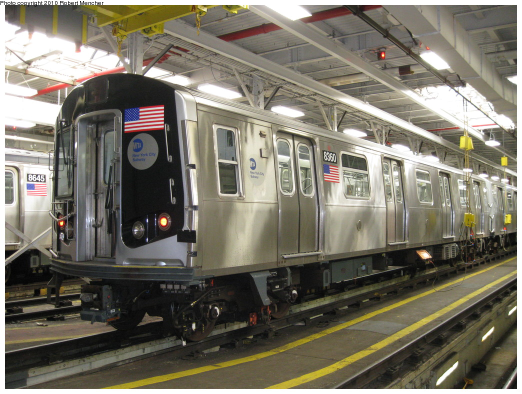 (262k, 1044x788)<br><b>Country:</b> United States<br><b>City:</b> New York<br><b>System:</b> New York City Transit<br><b>Location:</b> East New York Yard/Shops<br><b>Car:</b> R-160A-1 (Alstom, 2005-2008, 4 car sets)  8360 <br><b>Photo by:</b> Robert Mencher<br><b>Date:</b> 2/8/2010<br><b>Viewed (this week/total):</b> 0 / 594