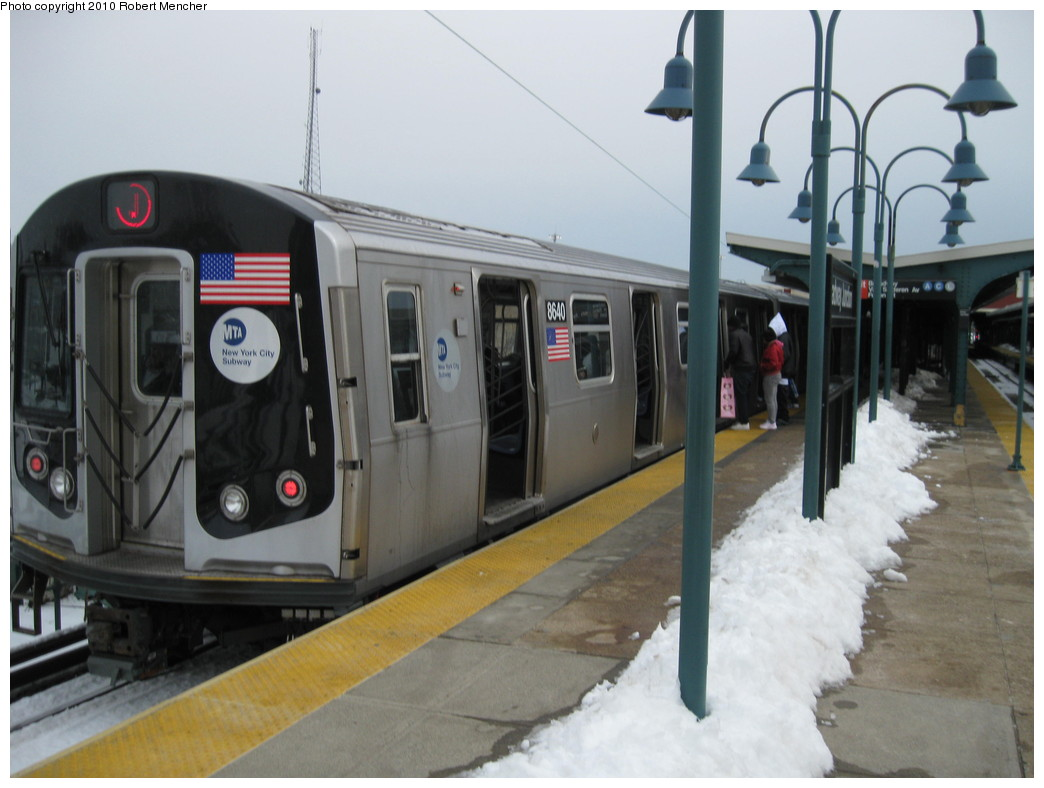 (173k, 1044x788)<br><b>Country:</b> United States<br><b>City:</b> New York<br><b>System:</b> New York City Transit<br><b>Line:</b> BMT Nassau Street/Jamaica Line<br><b>Location:</b> Broadway/East New York (Broadway Junction) <br><b>Route:</b> J<br><b>Car:</b> R-160A-1 (Alstom, 2005-2008, 4 car sets)  8640 <br><b>Photo by:</b> Robert Mencher<br><b>Date:</b> 2/13/2010<br><b>Viewed (this week/total):</b> 1 / 855