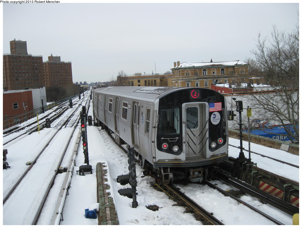 (222k, 1044x788)<br><b>Country:</b> United States<br><b>City:</b> New York<br><b>System:</b> New York City Transit<br><b>Line:</b> BMT Nassau Street/Jamaica Line<br><b>Location:</b> Broadway/East New York (Broadway Junction) <br><b>Route:</b> J<br><b>Car:</b> R-160A-1 (Alstom, 2005-2008, 4 car sets)  8625 <br><b>Photo by:</b> Robert Mencher<br><b>Date:</b> 2/13/2010<br><b>Viewed (this week/total):</b> 2 / 929
