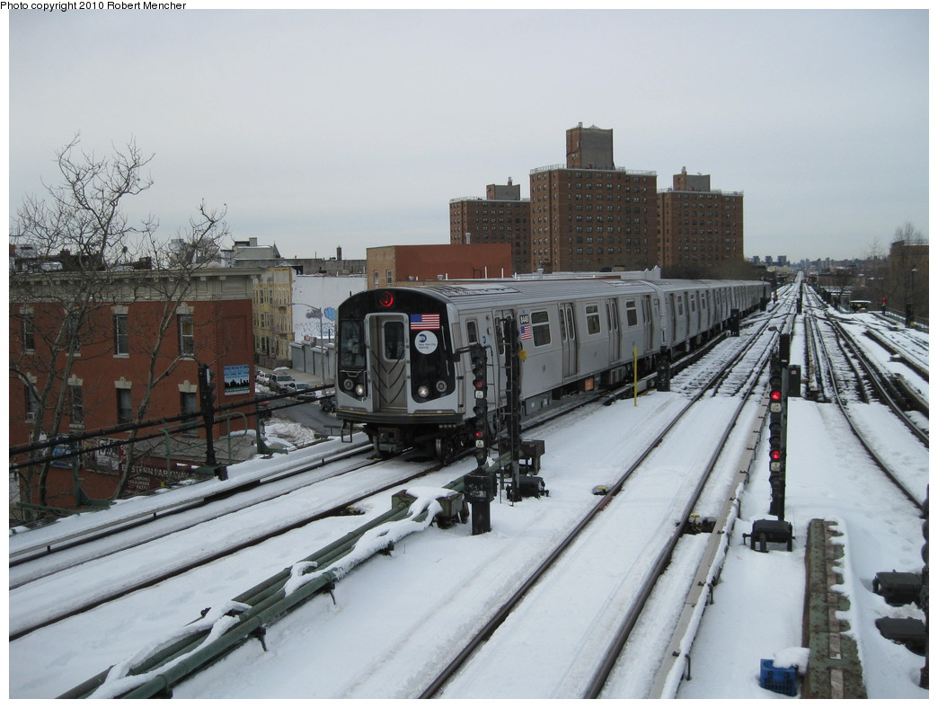 (208k, 1044x788)<br><b>Country:</b> United States<br><b>City:</b> New York<br><b>System:</b> New York City Transit<br><b>Line:</b> BMT Nassau Street/Jamaica Line<br><b>Location:</b> Broadway/East New York (Broadway Junction) <br><b>Route:</b> J<br><b>Car:</b> R-160A-1 (Alstom, 2005-2008, 4 car sets)  8448 <br><b>Photo by:</b> Robert Mencher<br><b>Date:</b> 2/13/2010<br><b>Viewed (this week/total):</b> 1 / 516