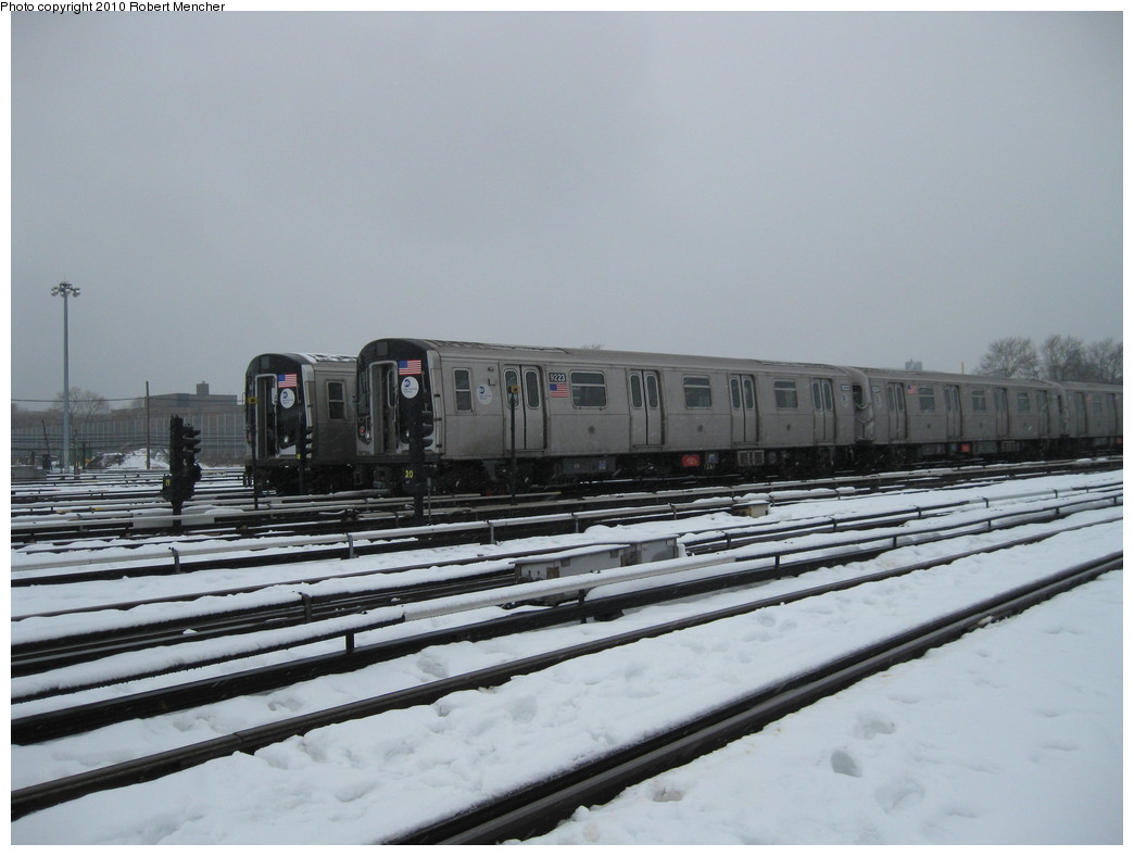 (163k, 1044x788)<br><b>Country:</b> United States<br><b>City:</b> New York<br><b>System:</b> New York City Transit<br><b>Location:</b> Coney Island Yard<br><b>Car:</b> R-160B (Option 1) (Kawasaki, 2008-2009)  9223 <br><b>Photo by:</b> Robert Mencher<br><b>Date:</b> 2/16/2010<br><b>Viewed (this week/total):</b> 0 / 615