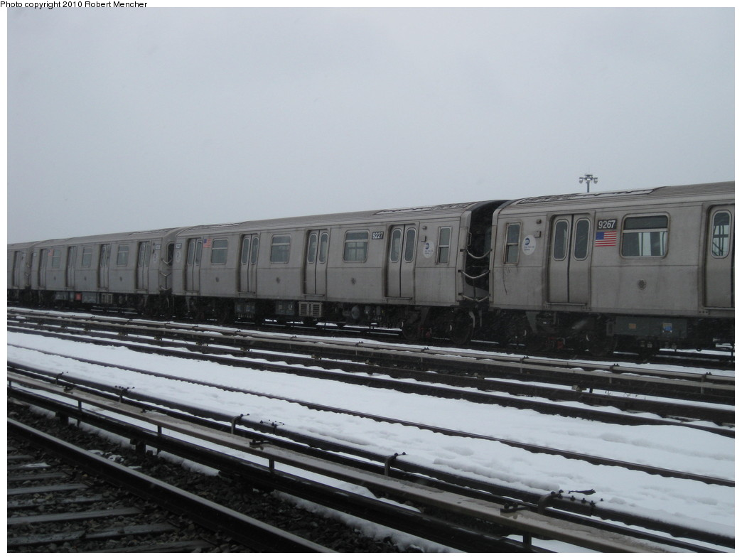 (166k, 1044x788)<br><b>Country:</b> United States<br><b>City:</b> New York<br><b>System:</b> New York City Transit<br><b>Location:</b> Coney Island Yard<br><b>Car:</b> R-160B (Option 1) (Kawasaki, 2008-2009)  9227 <br><b>Photo by:</b> Robert Mencher<br><b>Date:</b> 2/16/2010<br><b>Viewed (this week/total):</b> 2 / 270